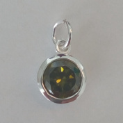 1.9ly Sterling Silver CZ Peridot Colour Crystal 8mm Charm Drop by JensFindings