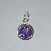 1.9ly Sterling Silver CZ Amethyst Colour Crystal 8mm Charm Drop by JensFindings