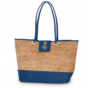 Mud Pie 8613305N Basket-Weave Cork Tote Bag Anchor Icon Nautical Navy
