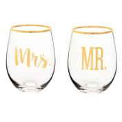 Mr. & Mrs. 570ml Gold Rim Stemless Wine Glasses