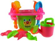 Clown Smile Face 15 Piece Filled Beach Bucket And Spade Set - Green
