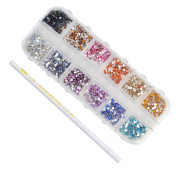BORN PRETTY Colourful Rhinestone 2mm Round Flat Back Nail Decoration with Rhinestone Picker Wax Dot Pen
