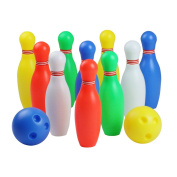 12 Pcs Skittles Bowling Set Toy Outdoor Indoor Bowling Pins Game with 2 Balls for Kids over  .   Old