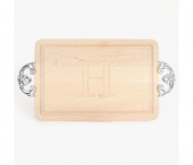 """CHUBBCO 210-CL-H Thick Cutting Board with Classic Cast Aluminium Handle, 27cm by 41cm by 2.5cm , Monogrammed """"H"""", Maple"""