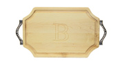 """CHUBBCO 300-RP-B Bar/Cheese Board with Rope Handle in Cast Aluminium with Scalloped Corners, 23cm by 30cm by 1.9cm , Monogrammed """"B"""", Maple"""