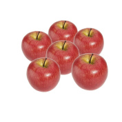 TOOGOO(R) Decorative Artificial Apple Plastic Fruits Imitation Home Decor 6pcs Red