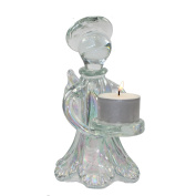 Glass Angel T-Light Holder 16cm (Lustrous Pearlescent Finish) Complete with Long Life T-Light