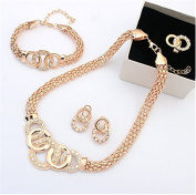 Yinew Elegant Party Necklace Earring Bracelet Ring Jewellery Set Attactive