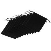 JOVIVI 12x10cm Elegant Gift Bags Candy Bags Black Velvet Drawstring Wedding Favour Jewellery Pouch, Pack of 10