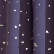 MOON & STARS METALLIC TAPE TOP THERMAL SEMI BLOCKOUT CURTAINS CHILDREN KIDS 46 x 54 NAVY by Ians Emporium