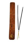 2XWooden Incense Stick Holder with brass inlay