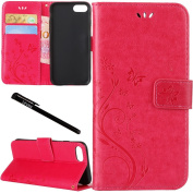 iPhone 7 Case, Urvoix Card Holder Stand Smooth Hand Feel PU Leather Wallet Case - Embossed Flower Butterfly Flip Cover for 12cm Version iPhone7(NOT for 7Plus) Rose