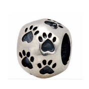 Paw Beads Charm Original 100% Authentic 925 Sterling Silver Animal Pet Beads fit for DIY Charms Bracelets