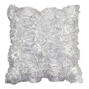 RuiChy Satin Rose Flower 3D Square Pillow Cushion Pillowcase Case Cover Home Decor, White