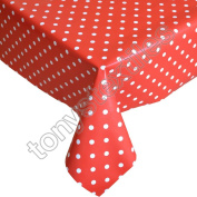 Polkadot Red and White Plastic Tablecloth Wipe Clean Pvc Vinyl Outdoor Kitchen Party