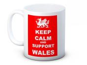 Keep Calm and Wales - Welsh Dragon - Football Rugby - High Quality Coffee Mug