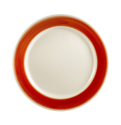 CAC China R-8-RED Rainbow Rolled Edge 23cm Red Stoneware Round Plate, Box of 24