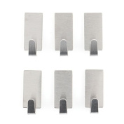 Candora 6pcs Self-adhesive Stainless Steel Towel Hooks,Towel Racks Wall Hooks for Kitchen,Bathroom