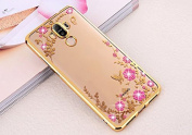 Huawei Mate 9 Case,Huawei Mate 9 Cover, Ukayfe [Electroplating Technology] Shock-Absorption Butterfly Flower Pattern Bling Glitter Diamond Clear TPU Back Panel ,Extreme Lightweight Transparent Soft Flexible Silicone Rubber Anti-Scratch Bumper Protectiv ..