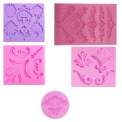 Baroque Style Curlicues Scroll Lace Fondant Silicone Mould for Sugarcraft, Cake Border Decoration, Cupcake Topper, Jewellery, Polymer Clay, Crafting Projects, 13cm Set By Palker sky