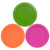 Pyrex 7200-PC 2 Cup Green Pink Orange Round Plastic Lids - 3 Pack