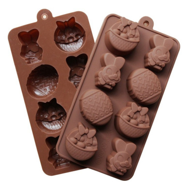 ZJCilected 8-Cavity Easter Rabbit egg Silicone Mould Cake Mould,Chocolate Mould, Soap Mould DIY Mould Home Kitchen Bakeware