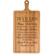 Personalised 70th Year Anniversary Gift for Him Her wife husband Couple Cheese Cutting Board Customised with Year Established dates to remember for Wedding Gift ideas by Dayspring Milestones