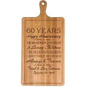 Personalised 60th Year Anniversary Gift for Him Her wife husband Couple Cheese Cutting Board Customised with Year Established dates to remember for Wedding Gift ideas by Dayspring Milestones