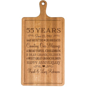 Personalised 55th Year Anniversary Gift for Him Her wife husband Couple Cheese Cutting Board Customised with Year Established dates to remember for Wedding Gift ideas by Dayspring Milestones