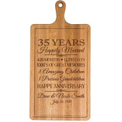 Personalised 35th Year Anniversary Gift for Him Her wife husband Couple Cheese Cutting Board Customised with Year Established dates to remember for Wedding Gift ideas by Dayspring Milestones