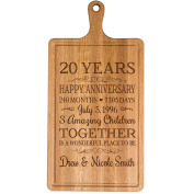 Personalised 20th Year Anniversary Gift for Him Her wife husband Couple Cheese Cutting Board Customised with Year Established dates to remember for Wedding Gift ideas by Dayspring Milestones