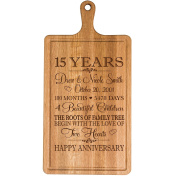 Personalised 15th Year Anniversary Gift for Him Her wife husband Couple Cheese Cutting Board Customised with Year Established dates to remember for Wedding Gift ideas by Dayspring Milestones