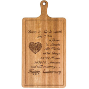 Personalised 5th Year Anniversary Gift for Him Her wife husband Couple Cheese Cutting Board Customised with Year Established dates to remember for Wedding Gift ideas by Dayspring Milestones