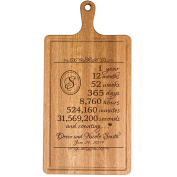 Personalised 1st Year Anniversary Gift for Him Her wife husband Couple Cheese Cutting Board Customised with Year Established dates to remember for Wedding Gift ideas by Dayspring Milestones