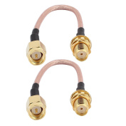 sourcingmap® 2PCS RG316 SMA Female to Male Connector Router Booster Antenna Extension Cable 10cm