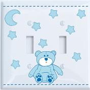 Blue Teddy Bear Light Switch Plate Double Toggle with Blue Moon and Stars / Teddy Bear Nursery Decor