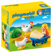 Playmobil 6965 1.2.3 Farmer's Wife Playset with 2 Hens