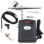 OPHIR Airbrush Kit with Black Mini Air Compressor Air Filter for Temporary Tattoo Body Nail Paint