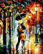 Arts Language Wooden Framed 41cm x 50cm Paint by Numbers Diy Painting Dancing rainy night