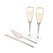 Personalised Gold Champagne Flutes & Cake Serving Set