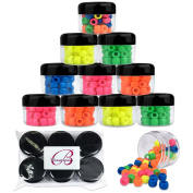 Beauticom 30G30ml 12 Piece Clear Acrylic Round Storage Container Jars with BLACK Screw Top Lids for Gems, Beads, Stones, Charms, Paints and Other Art Supplies