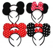 ZICOME Pack of 8 with 4 kinds - Mickey Mouse Adorable Ear Dots Solid Various Style Black and Bow Minnie Headband for Boys and Girls Birthday Party or Celebrations