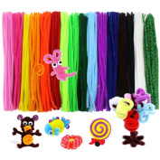 JUSLIN 340 Pcs Pipe Cleaners Chenille Stem 6 mm x 12 Inch, 17 Assorted Colours