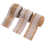 eBoot 3 Pieces Natural Burlap Ribbons with White Laces for DIY Handmade Wedding Crafts Lace Linen, 200cm Each