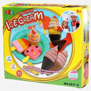 LUQUAN Kids Playdough Ice Cream Children Educational Toys Ultralight Polymer Clay Moulds Kit Tools