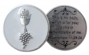 Chalice with Host and Grapes First Communion Pocket Token with Prayer Back