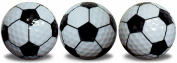 Soccer Ball Golf Balls 3 Pack with a black, full wrap, imprint