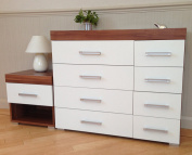 Chest of 4+4 Drawers & 1 Bedside Table in White & Walnut Bedroom Furniture 8 Draws