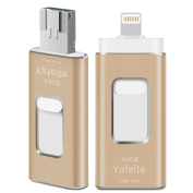 iPhone Flash Drive 64GB USB Adapter, External Expansion Memory Stick,Lightning Connector for IPad,iOS,MAC,PC,Android,Yafeite 3 in 1,New Version