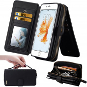 iPhone 7Plus Women's Case,iPhone 7 Plus Wallet Case,WOOZU Polka Dot Interior 12 Card Slots Card Slots Money Pocket Clutch Cover Zipper Wallet Purse Detachable Case for iPhone 7 Plus 14cm